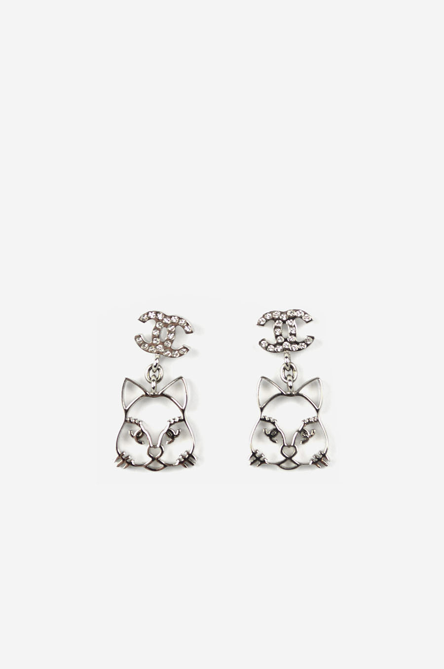 Choupette Cat Emoji CC Crystal Earrings