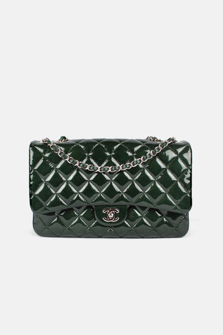 Green Patent Leather Jumbo 3 Classic Flap Bag SHW