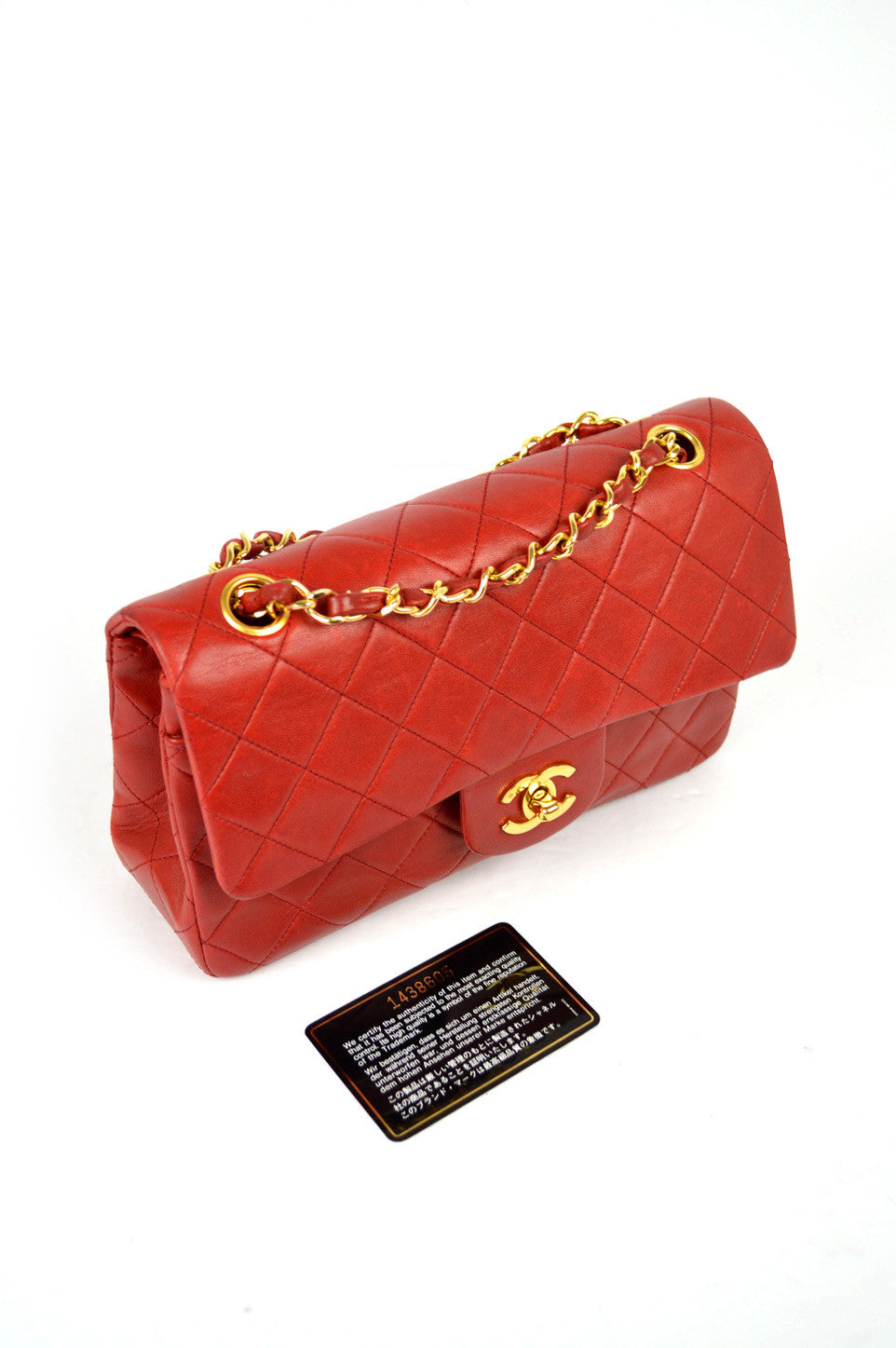 "Classic 2.55 Red Lambskin 9"" Double Flap Bag GHW"