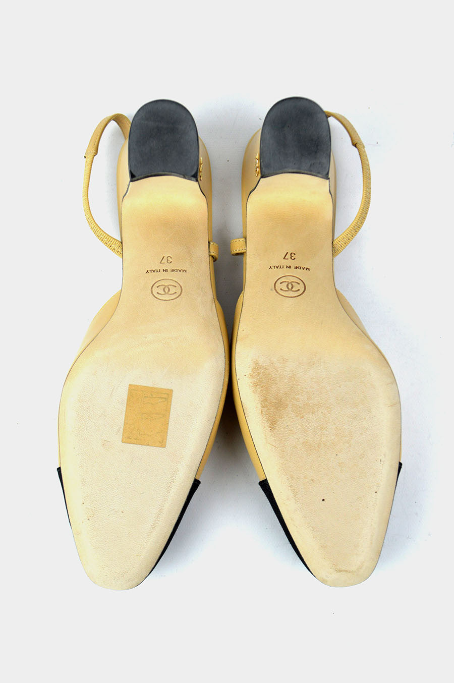 Beige Lambskin Black Grosgrain Toe Cap Slingbacks - on hold