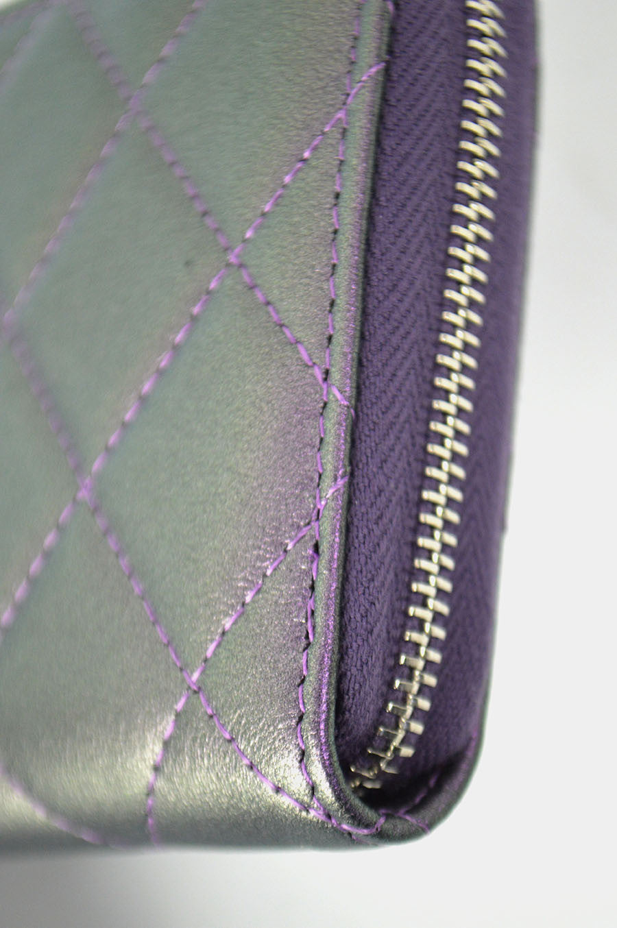 Purple Iridescent Lambskin Zippy Wallet