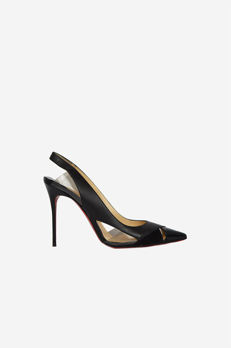 Black Leather Cut-out Galata 120 Pointed-Toe Sling-Backs - Haute Classics