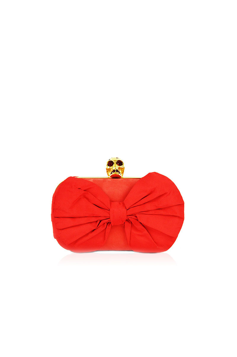 Red Crystal Skull Bow Box Clutch - Haute Classics