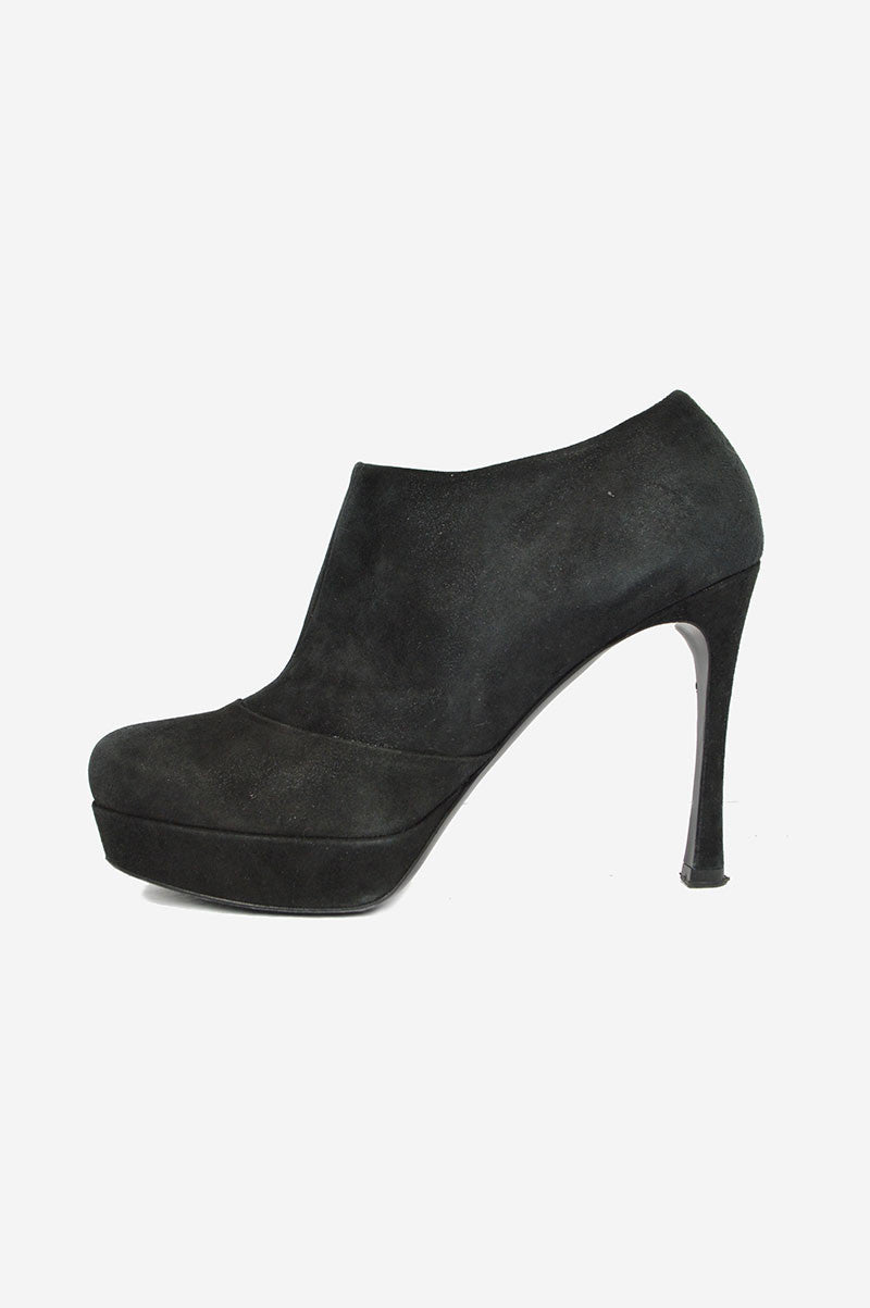 Black Shimmer Suede Ankle Booties - Haute Classics