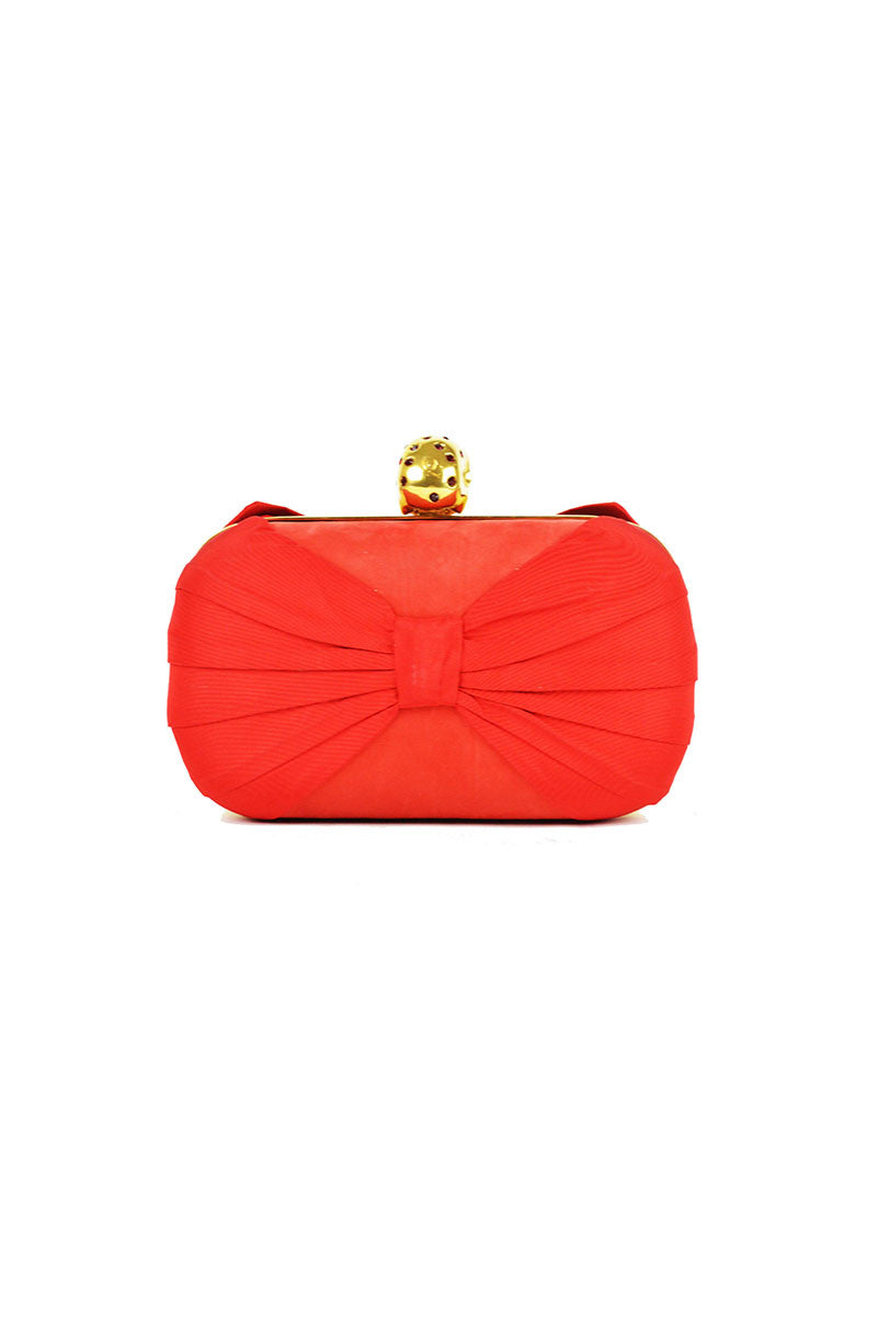 Red Crystal Skull Bow Box Clutch