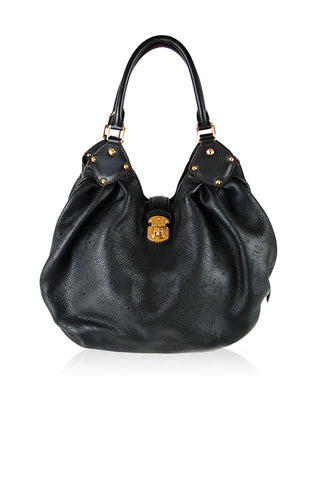 Black Leather Monogram Mahina MM Hobo Bag - Haute Classics