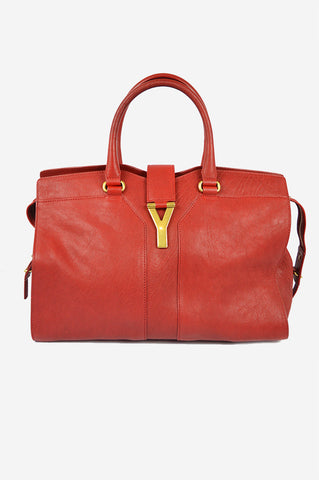 "Poppy Red Leather ""Cabas ChYc"" Satchel"