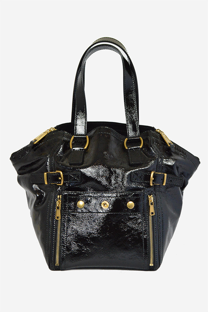 Black Patent Leather Sac Downtown Handbag - Haute Classics