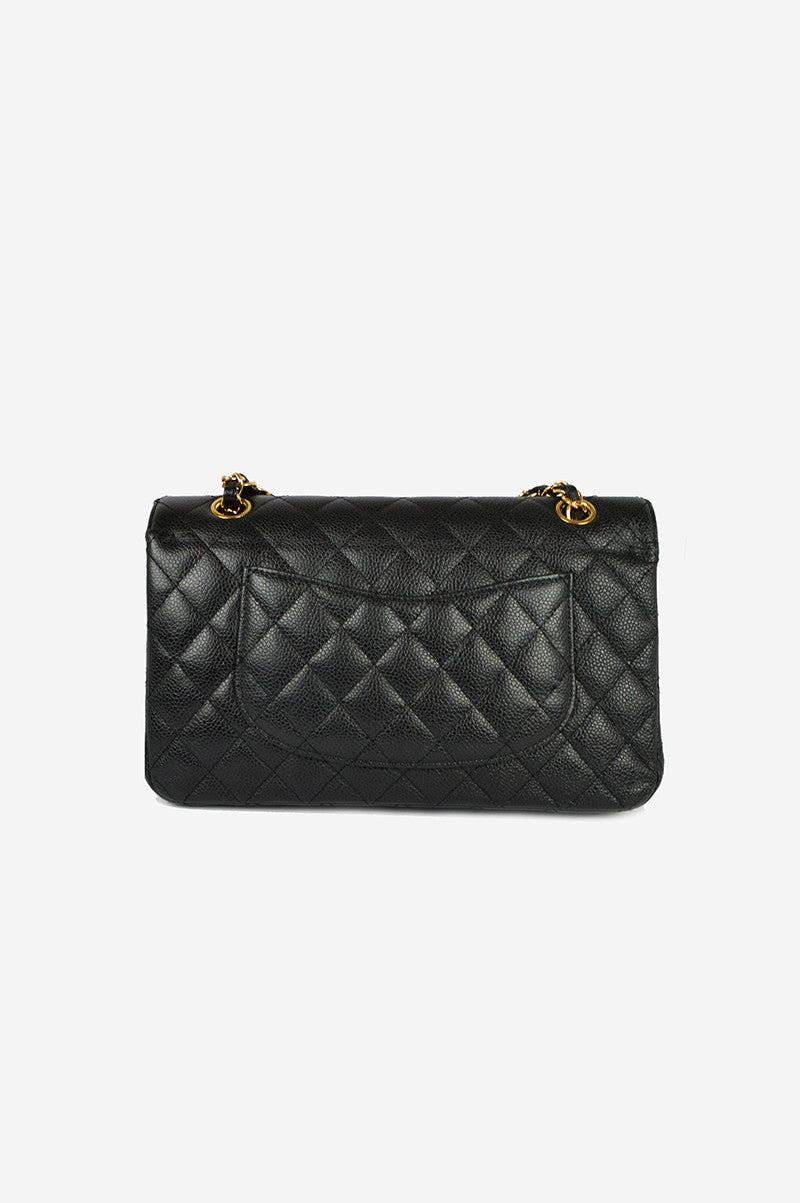 "Classic 2.55  Black Caviar 10"" Double Flap Bag - ON LAYAWAY"