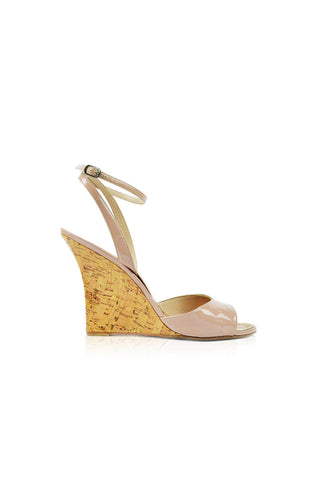 Nude Patent Cork Wedge