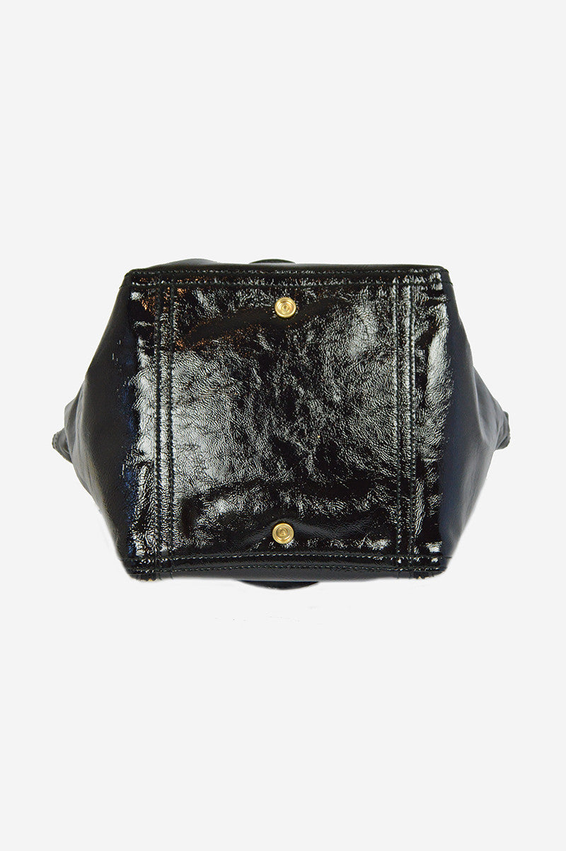 Black Patent Leather Sac Downtown Handbag