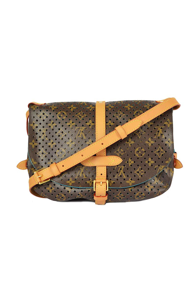 "Limited Edition  Monogram Leather Perforated ""Flore Saumur""  Bag - Haute Classics"