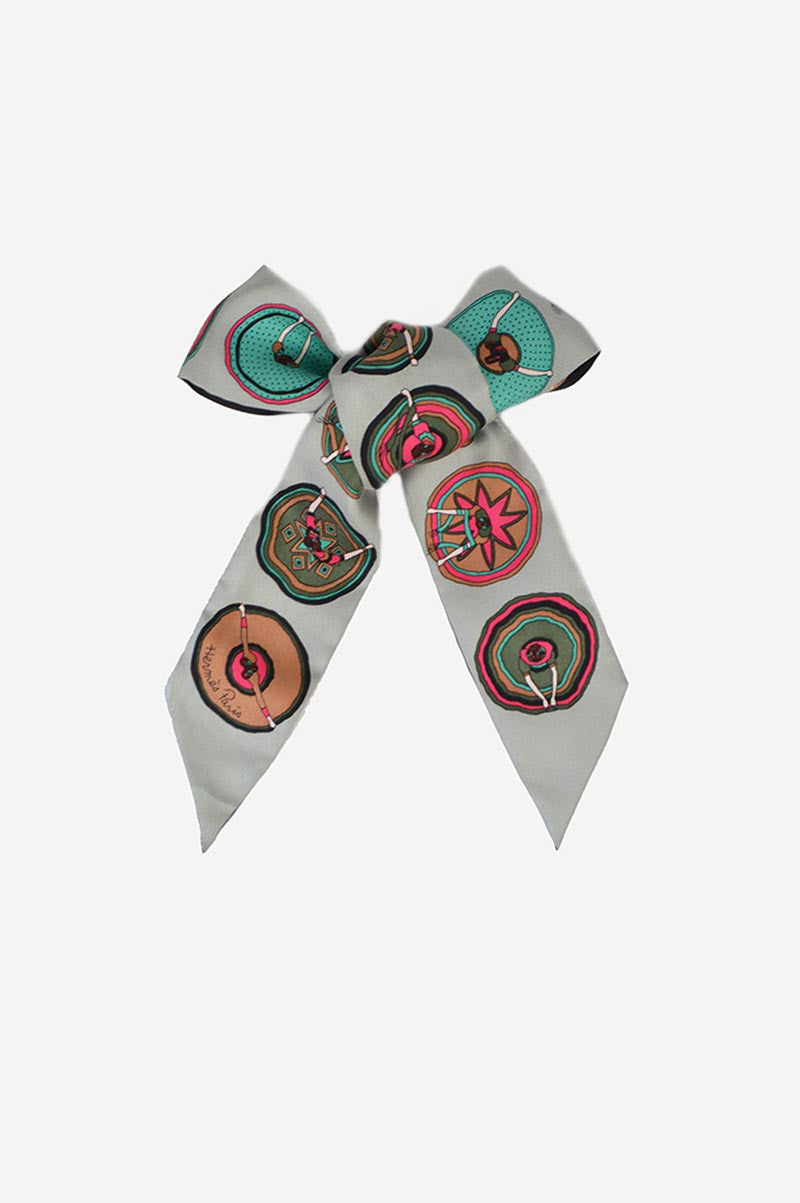 "Grey & Pink ""Belles du Mexique"" Silk Twilly Scarf"