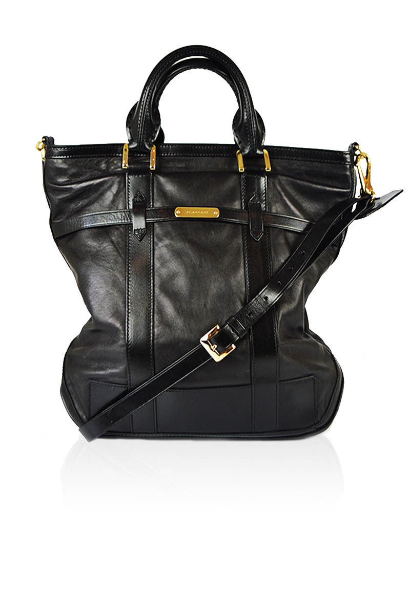 Black Leather Crossbody Tote - Haute Classics
