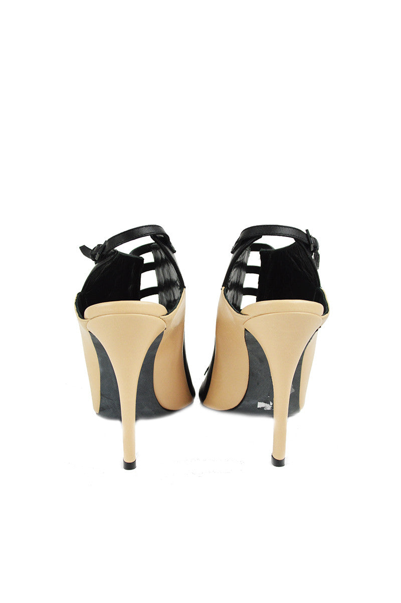 Black and Nude Strappy Ankle Cut- Out Heels - Haute Classics