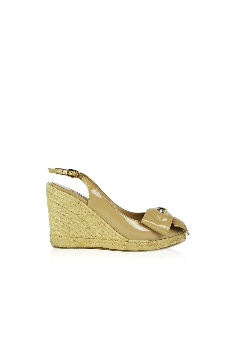 Nude Patent Espadrilles Slingback Wedges with Bow - Haute Classics