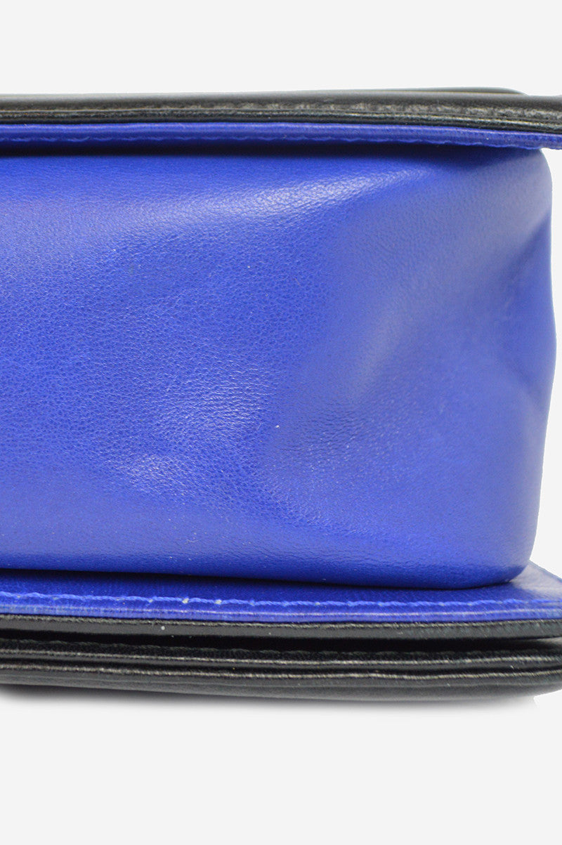 Two-Tone Blue & Black Lambskin Old Medium Boy Bag