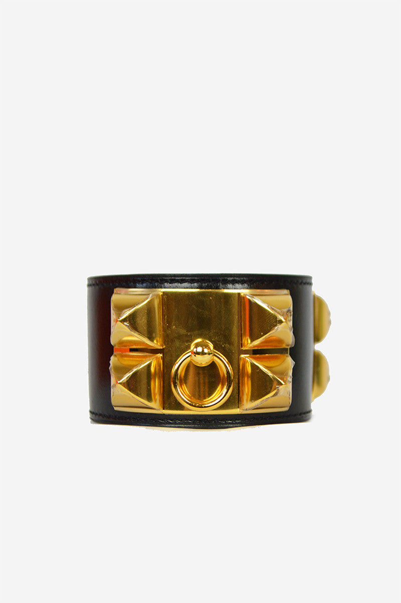 Black Box Leather Gold Collier de Chien Cuff Small Cuff - ON LAYAWAY - Haute Classics