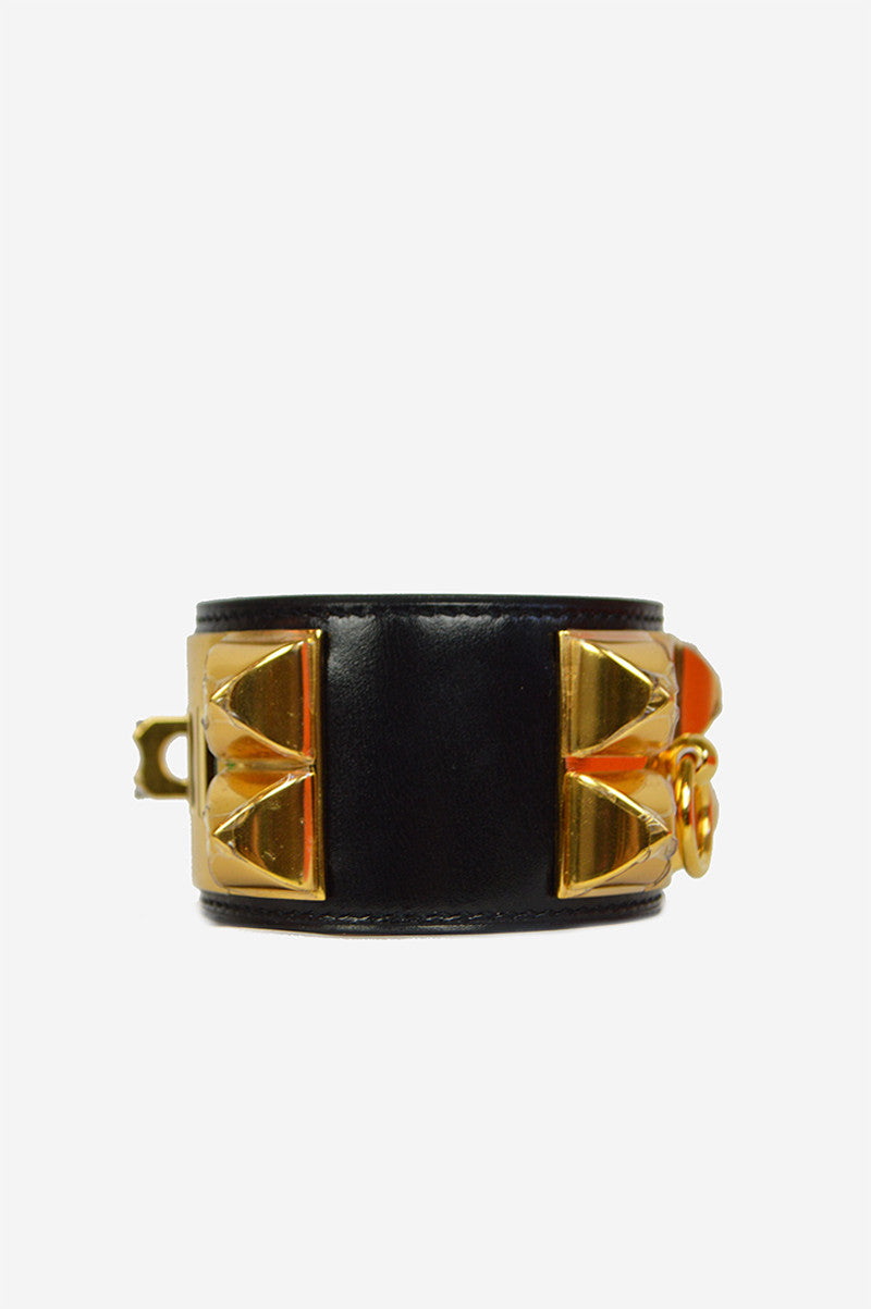 Black Box Leather Gold Collier de Chien Cuff Small Cuff - ON LAYAWAY