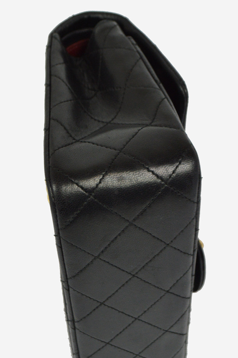 "Black Leather Lambskin 9"" Double Flap Bag - Haute Classics"