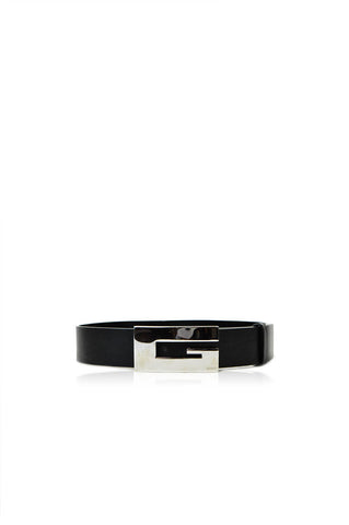 Black Leather Belt with Silver Buckle - Haute Classics
