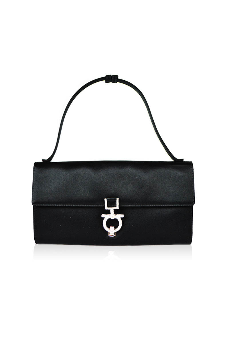 Black Satin Evening Bag with Bejeweled Clasp - Haute Classics