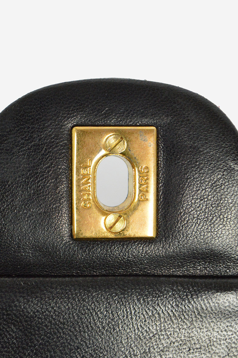 "Black Leather Lambskin 9"" Double Flap Bag"