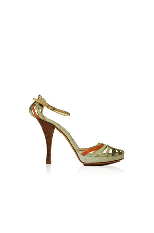 Suede Green & Orange Woven Strappy Heel