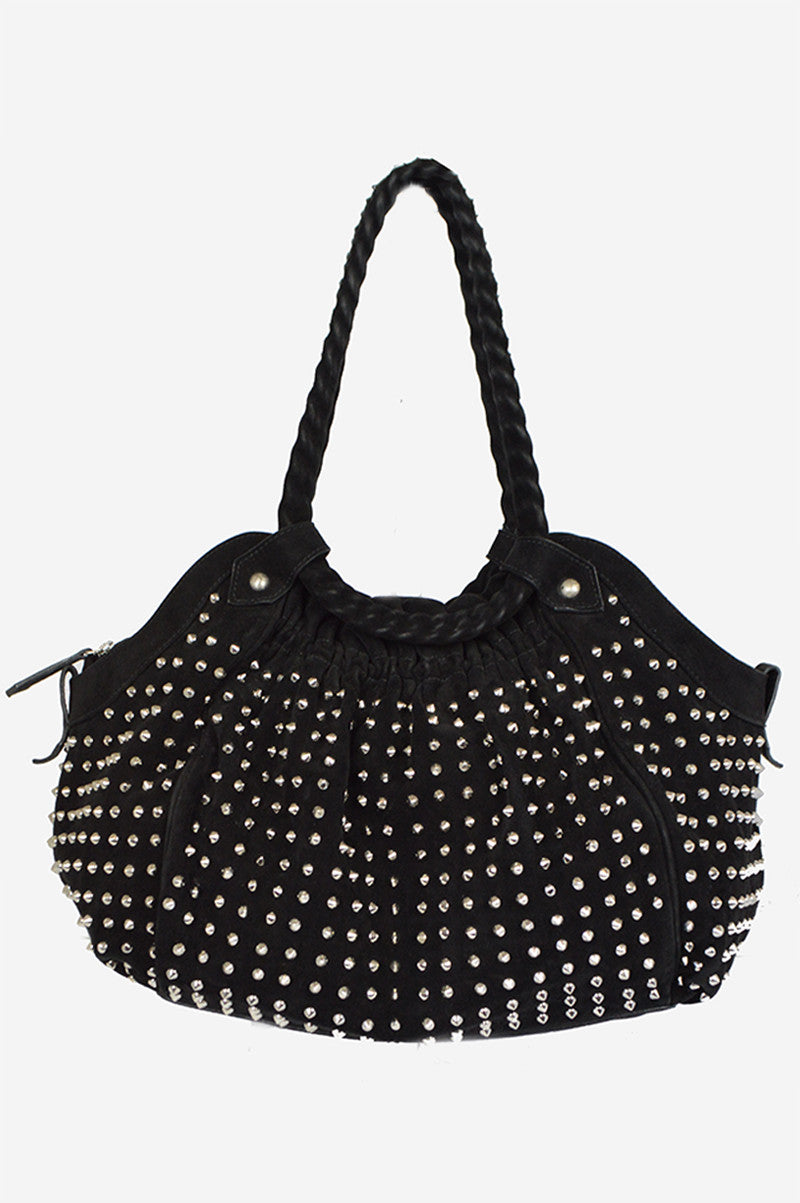 Black Suede Stud Hobo Bag - ON LAYAWAY - Haute Classics