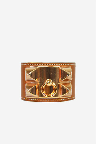 Fauve Barenia Leather Collier de Chien Small Cuff - Haute Classics