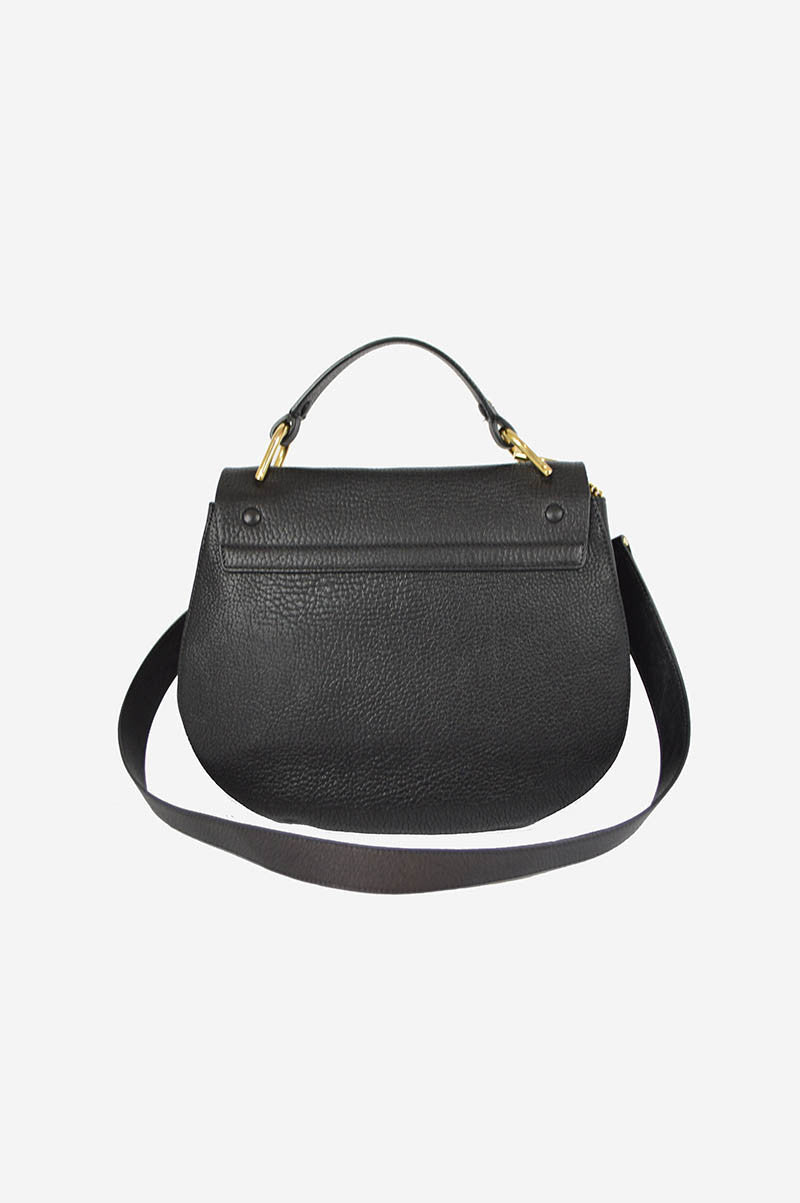 Black Leather Drew Medium Saddle Crossbody
