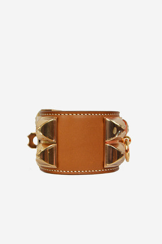 Fauve Barenia Leather Collier de Chien Small Cuff (CDC)