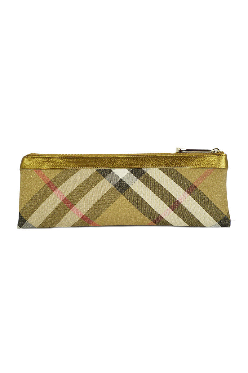 Burberry Gold Shimmer Check Clutch - Haute Classics
