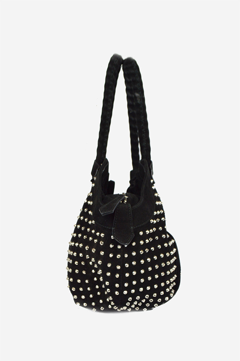 Black Suede Stud Hobo Bag