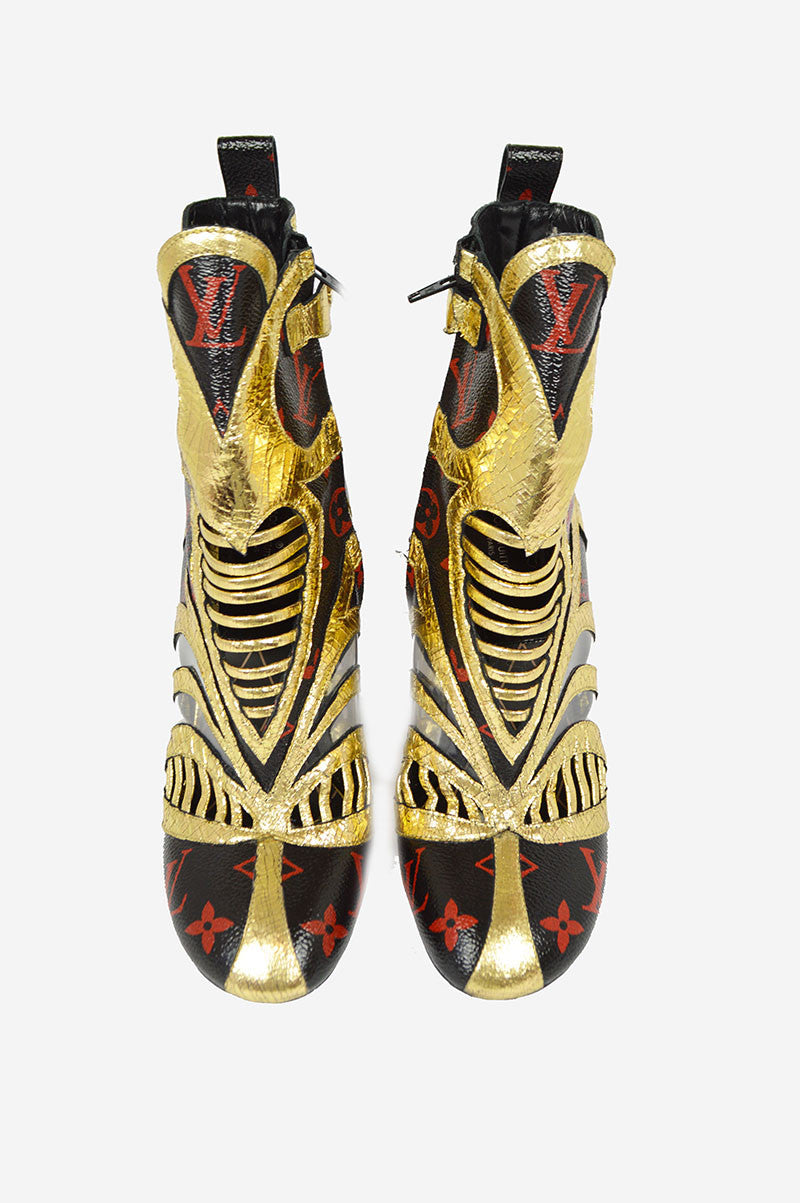 Queen of Hearts Black, Red & Gold Ankle Boots