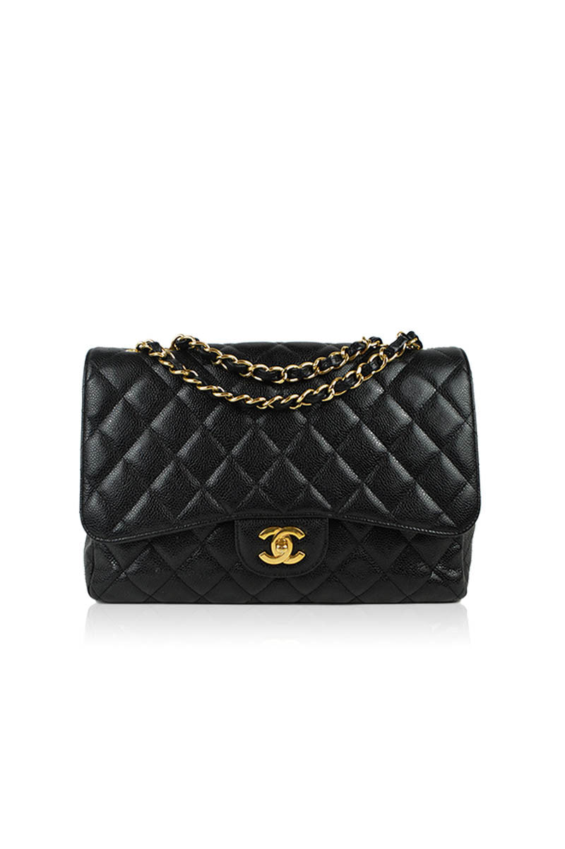 Black Jumbo Caviar Single Flap Bag - ON LAYAWAY - Haute Classics