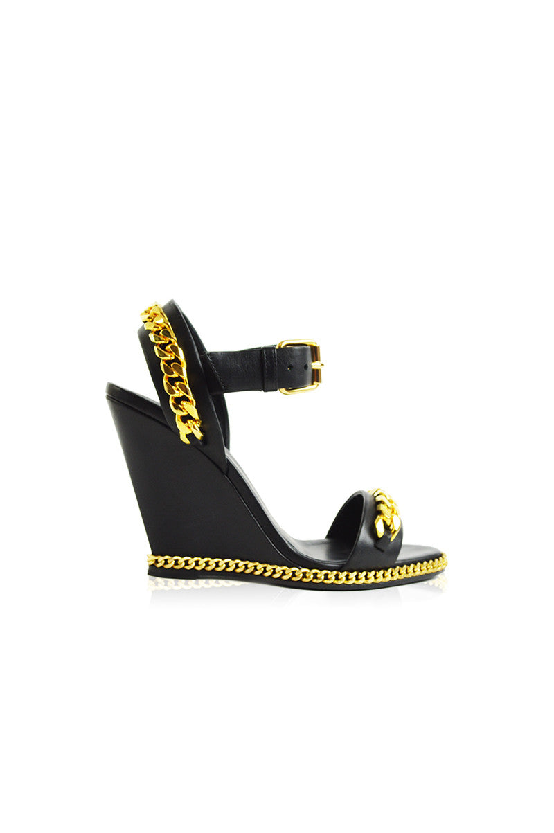 Black with Gold Chain Wedge - Haute Classics