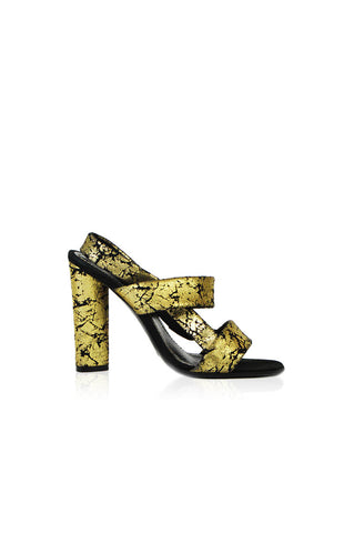 Black with Gold Crackle Sandal - Haute Classics