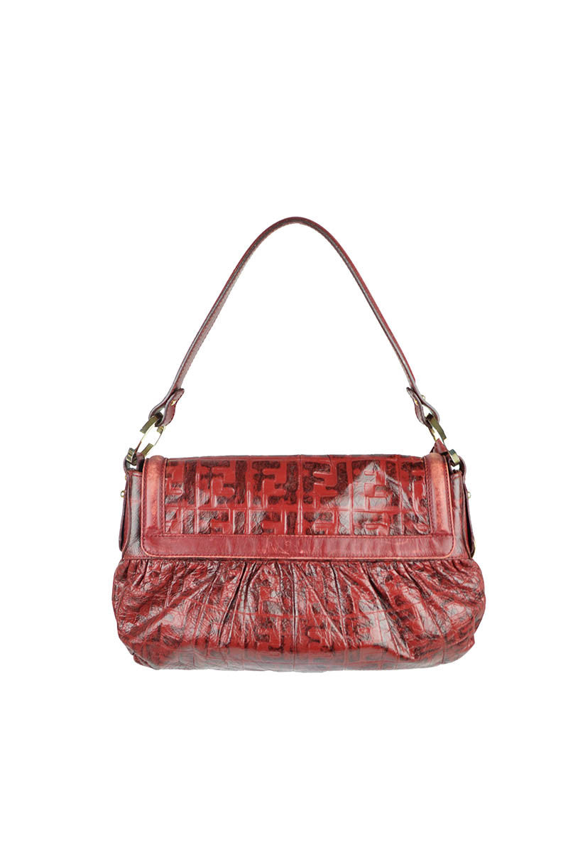 "Red Leather Embossed  ""Chef"" Shoulder Bag - Haute Classics"