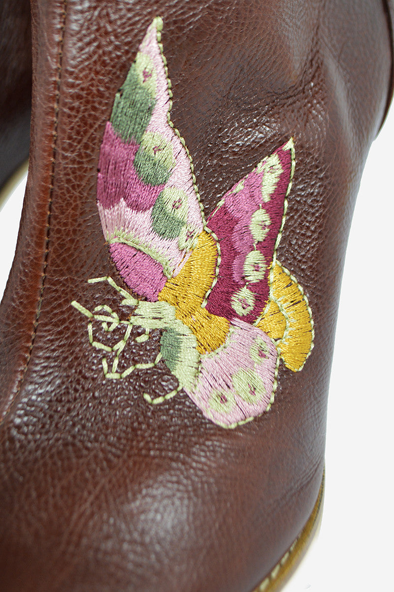 Brown Leather Ankle Boots with Embroidery - Haute Classics