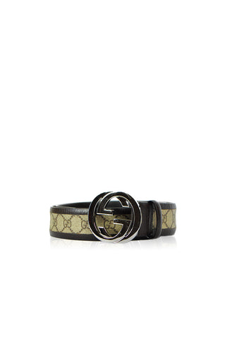 "Brown Monogram Belt with 'GG"" Logo Buckle - Haute Classics"