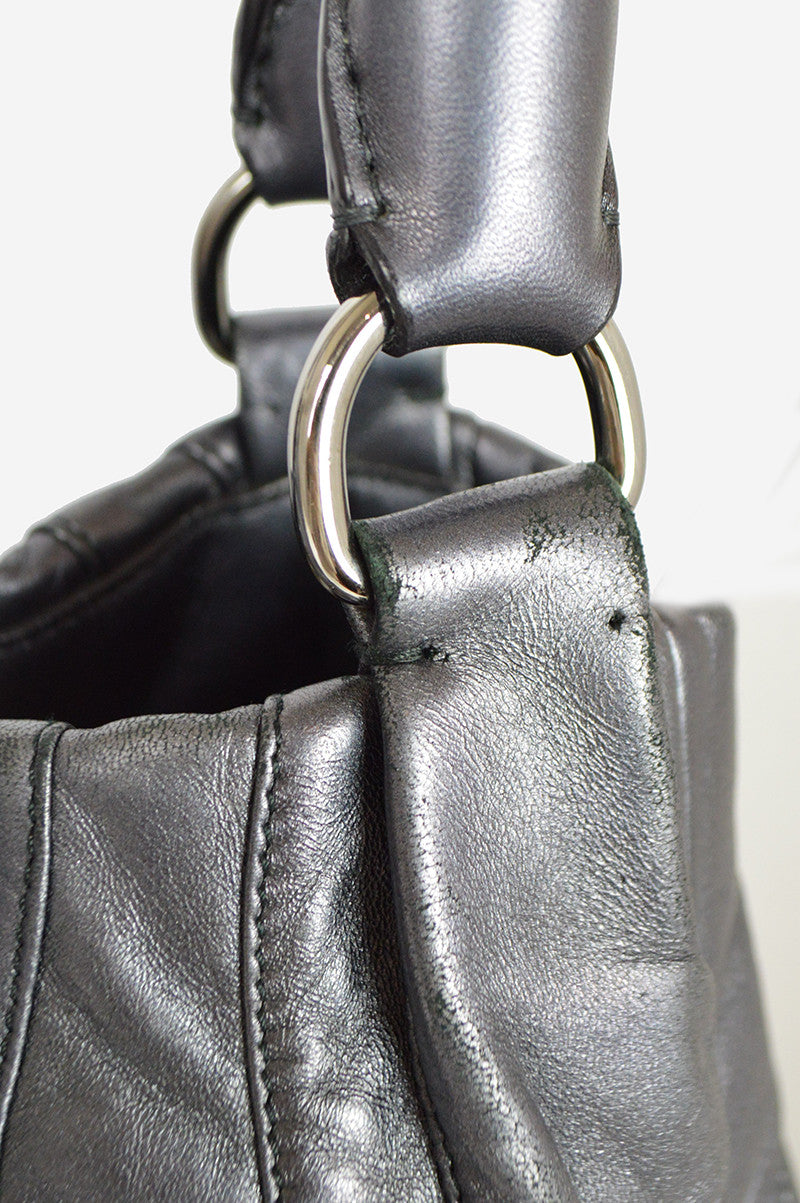 Metallic Pewter Leather Nappa Mordore Handbag