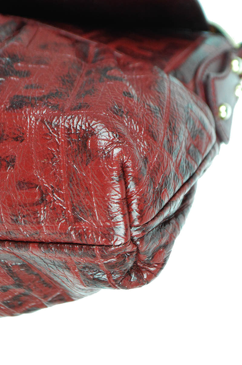 "Red Leather Embossed  ""Chef"" Shoulder Bag"
