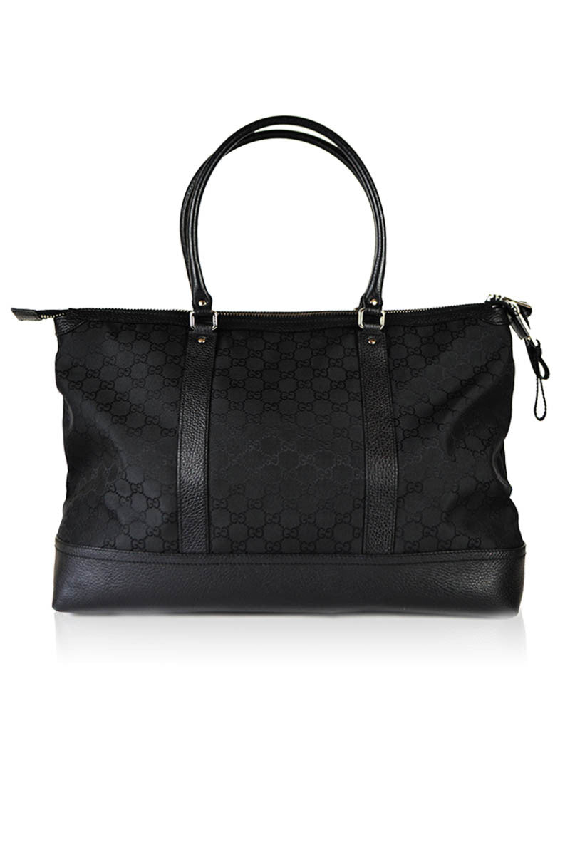 Black Monogram Canvas Tote - Haute Classics