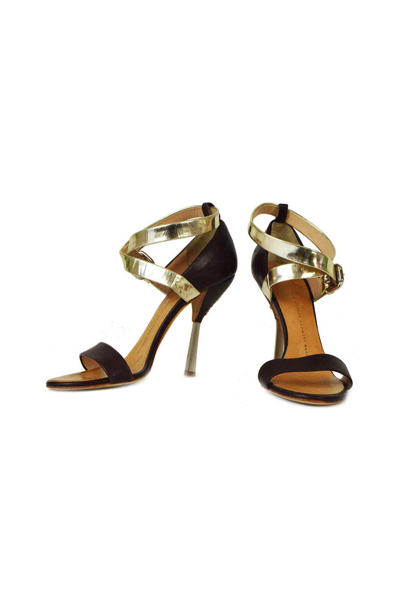 Brown & Gold Leather Sandal - Haute Classics