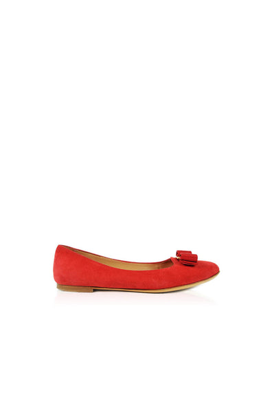 Red Suede Flats with Bow