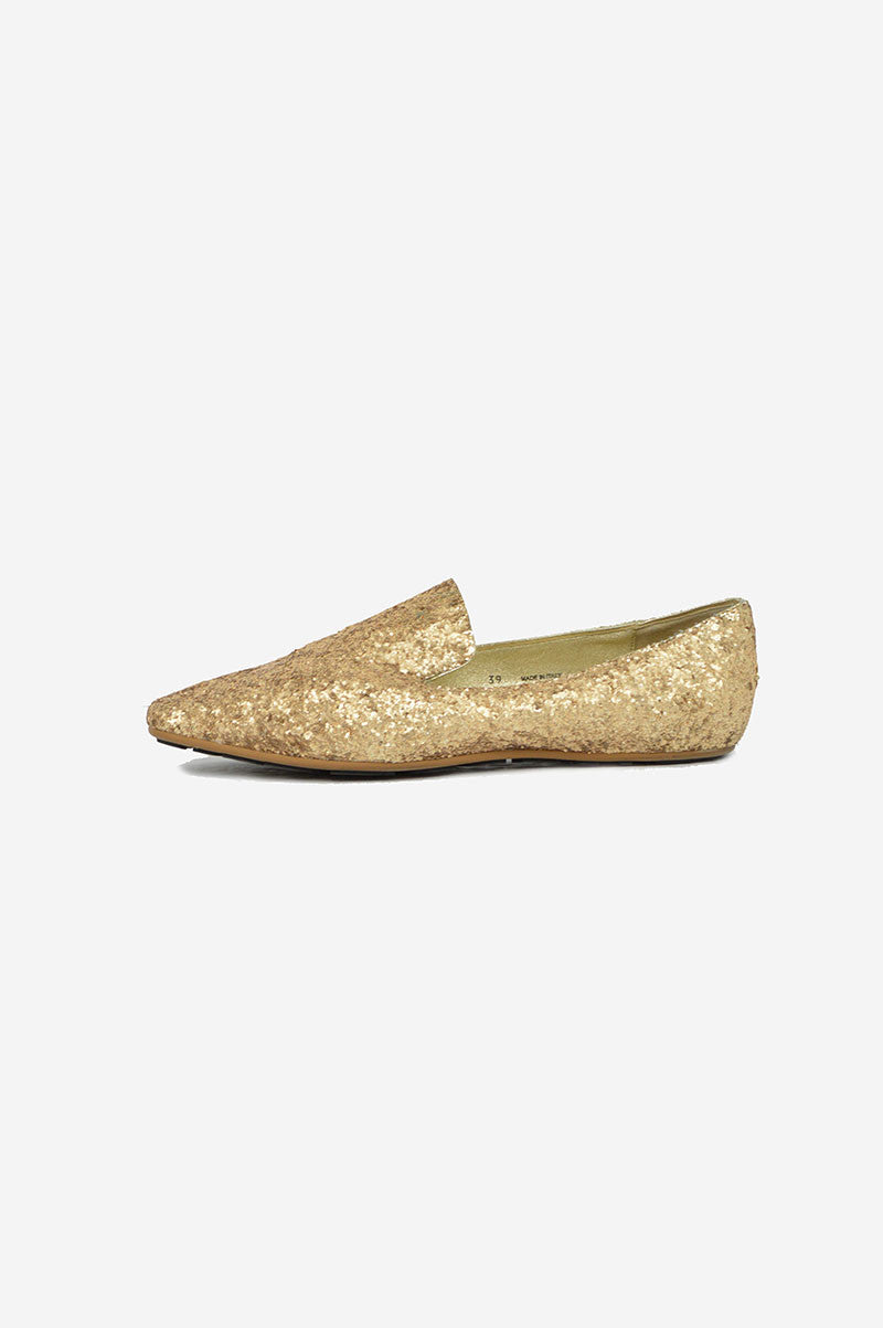 Gold Sequin Loafers