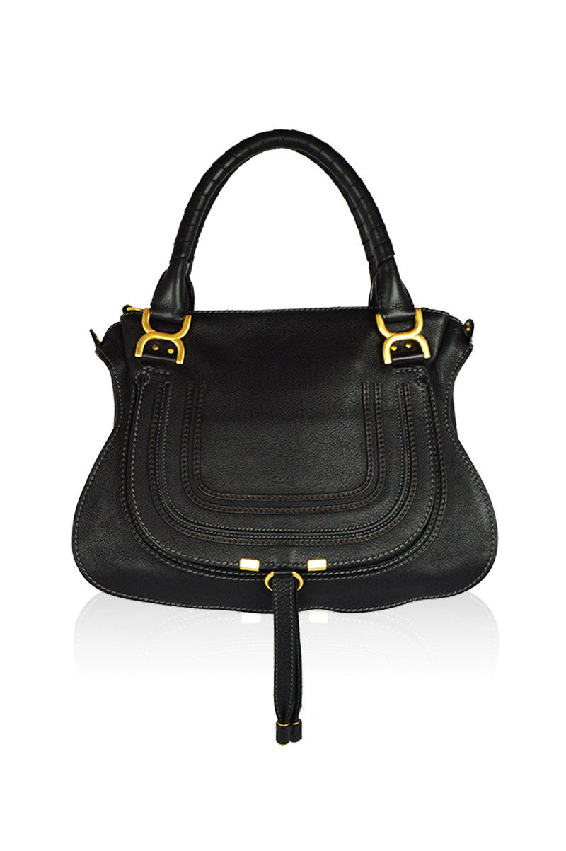 Black Leather Marcie Satchel (ON LAYAWAY) - Haute Classics