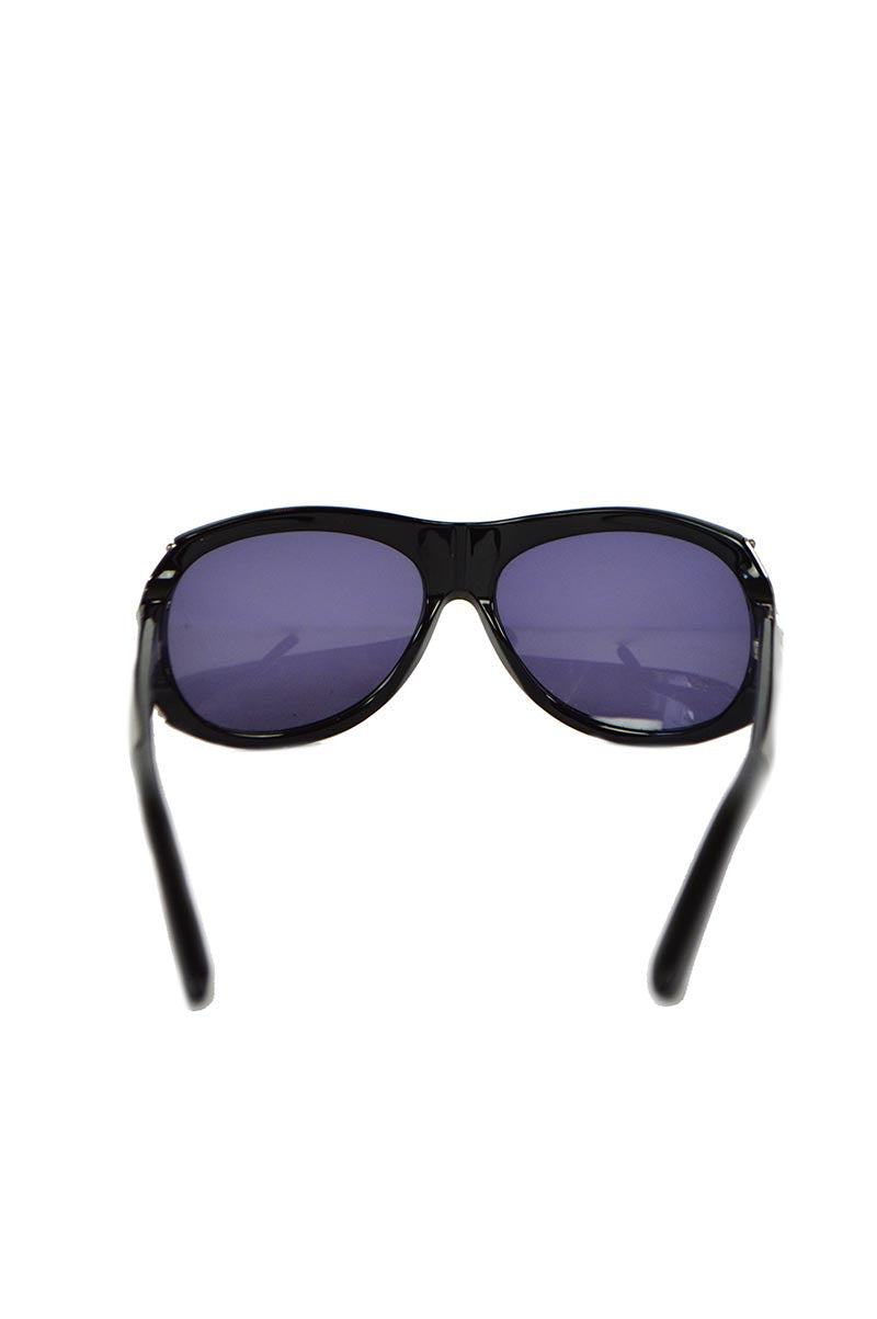 Black Chloe Oval Sunglasses with Metal Detail - Haute Classics