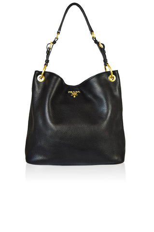 Black Leather Vitello Daino Hobo - Haute Classics